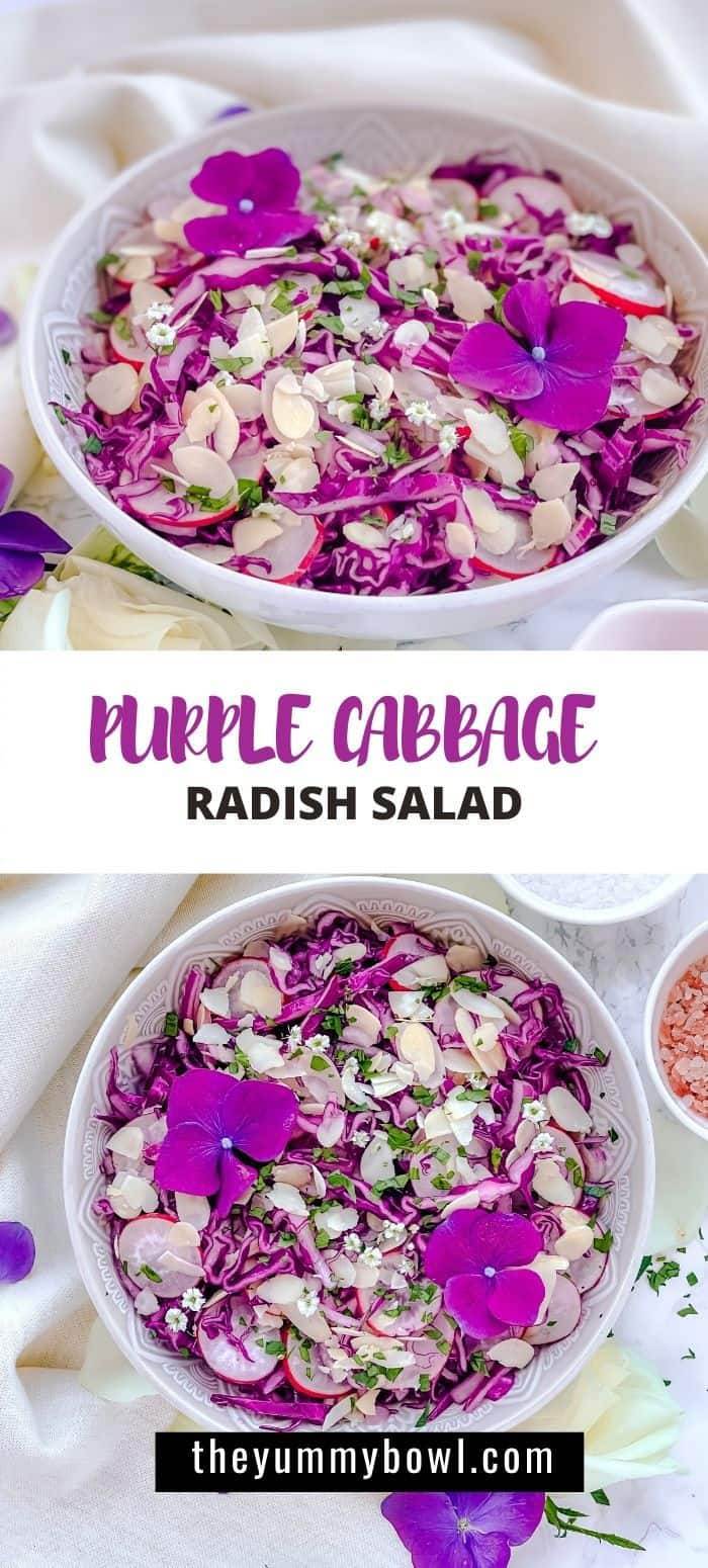 Healthy Purple Cabbage salad with Almonds - Crunchy, healthy, sweet and so easy to make with deliciosu Maple Vinegar dressing. #purplecabbagesaladhealthy #redcabbagesalad #mapledressing #redcabbage #cabbagesaladwithalmonds #healthyrecipes- The Yummy Bowl