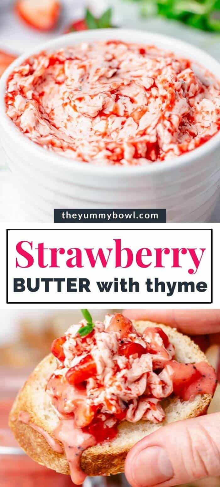 strawberry butter in a white bowl