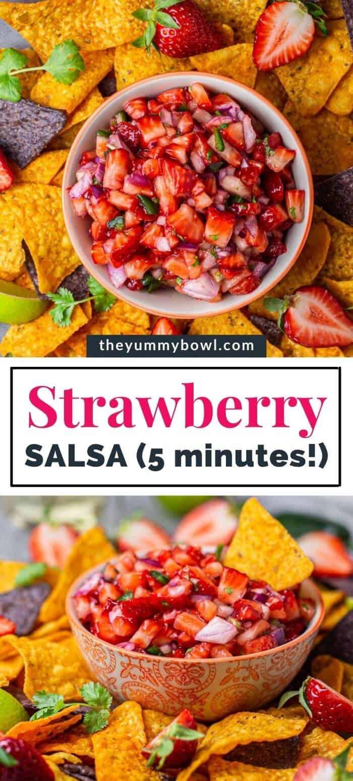 strawberry salsa in a bowl with nachos tortilla chips around