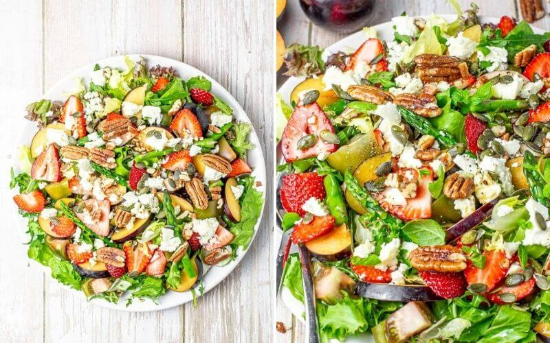 Summer Salad With Strawberries, Pecans And Plums