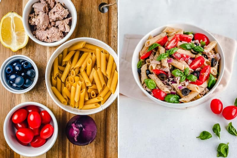 A simple and savory cold pasta salad made with just a few ingredients like tuna, olives, tomatoes, gluten free pasta and an easy salad dressing. Can be served hot or cold to fit any season!