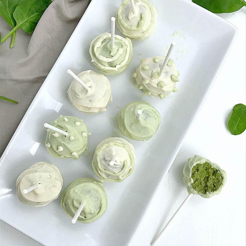 Almond Flour Light green and white Vanilla Cake Pops