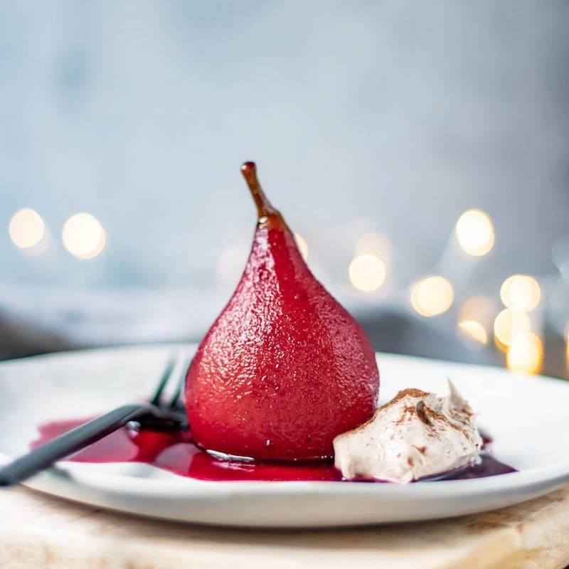 Poached Pears in Red Wine With Cinnamon Cream