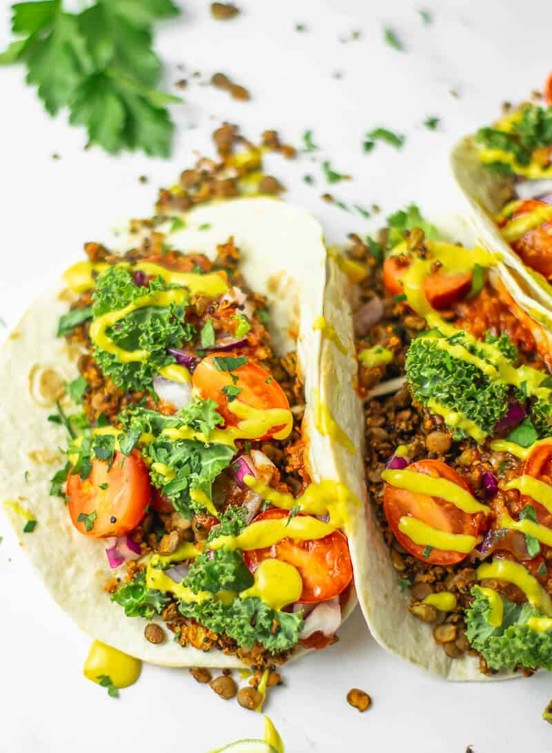 Vegan Meat Tacos with Cheese Sauce