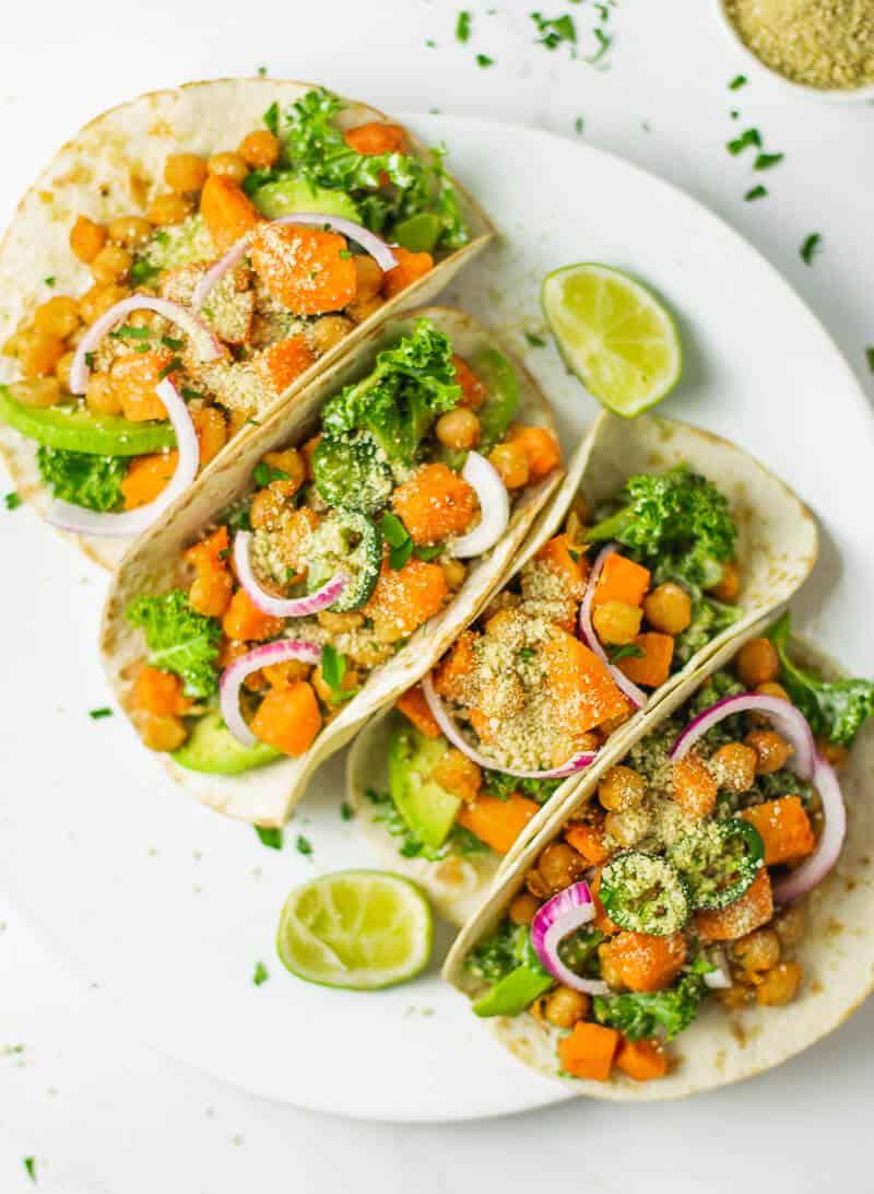 Sweet Potato, Chickpea and Kale Tacos (Vegan)